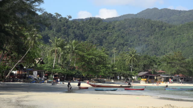 sandy beach with palm trees - gulf of thailand stock videos & royalty-free footage
