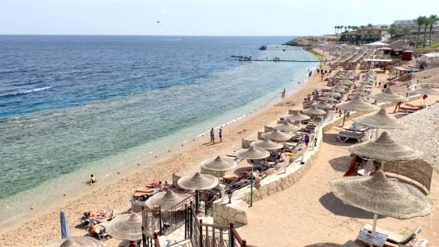 sandstrand mit sonnenschirmen und liegestühlen. scharm el-scheich. ägypten. - red sea stock-videos und b-roll-filmmaterial