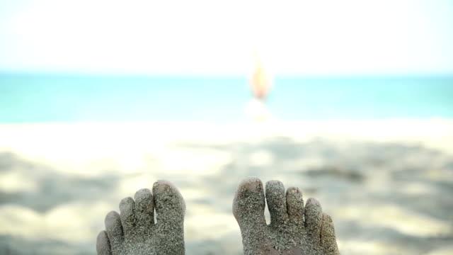 sandy feet. - human toe stock videos and b-roll footage