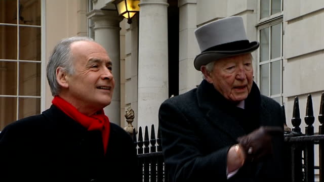 interview ENGLAND London EXT Sandy Gall towards with Alastair Stewart Sandy Gall interview SOT On his memories of visiting MI6 / his work as a...