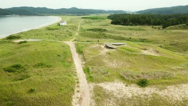 sandy road in sindu-ri coastal sand dune (korea natural monument no. 431) / taean-gun, chungcheongnam-do, south korea - crossroad stock videos & royalty-free footage