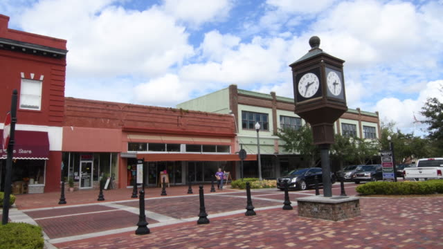 sanford florida downtown 1st street main street small town antique area restored city, 4k - florida usa stock videos and b-roll footage