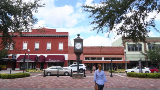 Sanford Florida downtown 1st Street main street small town antique area restored city, 4K