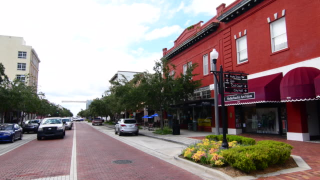sanford florida downtown 1st street traffic main street small town antique area restored city, 4k - small stock videos & royalty-free footage
