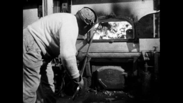 sanitation rakes burning garbage in incinerator; 1964 - only mid adult men stock videos & royalty-free footage