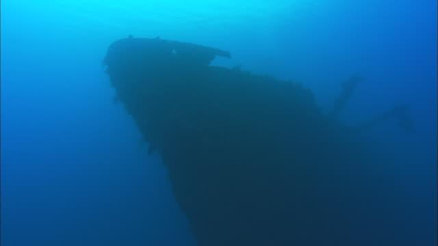 stockvideo's en b-roll-footage met sankisan, bow silhouette from bottom lt side, chuuk lagoon, south pacific  - scheepswrak