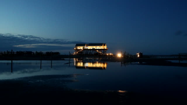 sankt peter-ording at twilight - hut stock videos & royalty-free footage
