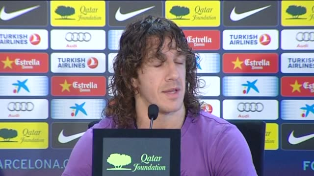 sant joan despí , 9 may .- barcelona's captain carles puyol told a press conference on wednesday that he had no intention of retiring from spain's... - national team stock videos & royalty-free footage