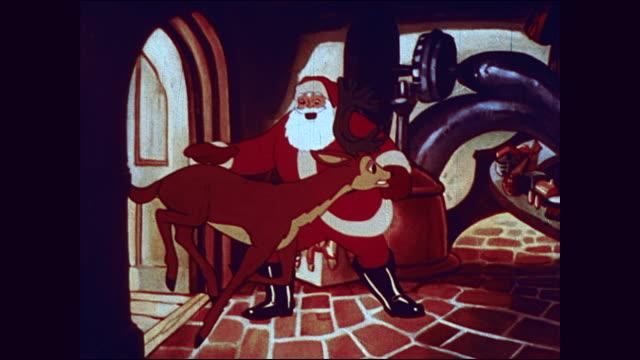 santa and his reindeer prepare for christmas deliveries - tecknad film bildbanksvideor och videomaterial från bakom kulisserna