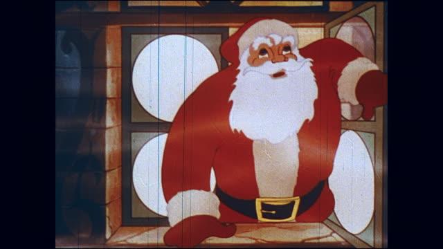 stockvideo's en b-roll-footage met santa awaits christmas at the north pole - kerstman