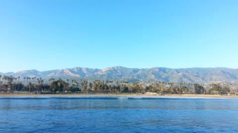 santa barbara beach and mountains - santa barbara california stock videos & royalty-free footage