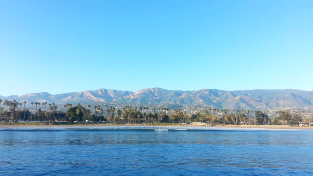 santa barbara beach and mountains - santa barbara california stock videos & royalty-free footage