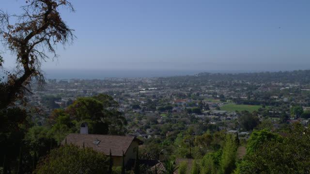 high angle wide pan santa barbara cityscape - santa barbara california stock videos and b-roll footage