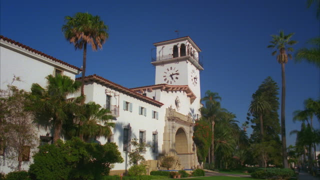 ws santa barbara courthouse at anacapa street, designed by william mooser iii in spanish colonial revival style / california, usa - santa barbara california stock videos and b-roll footage
