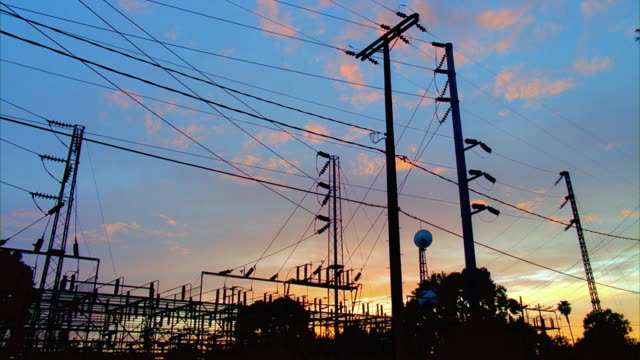 t/l ms la santa barbara electrical substation, day to night, santa barbara, california, usa - power station stock videos & royalty-free footage