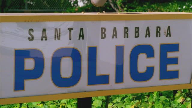 CU Santa Barbara police sign at police station entrance / California, USA