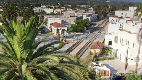 santa barbara train station - drone shot - santa barbara california stock videos & royalty-free footage