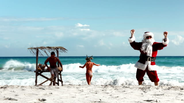 santa beach coconuts - funny merry christmas greetings stock videos and b-roll footage