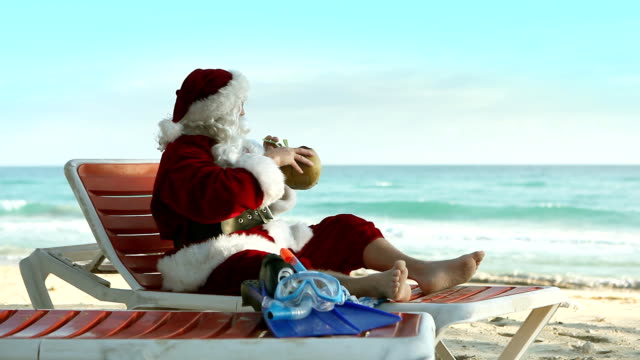 santa beach relax - funny merry christmas greetings stock videos and b-roll footage