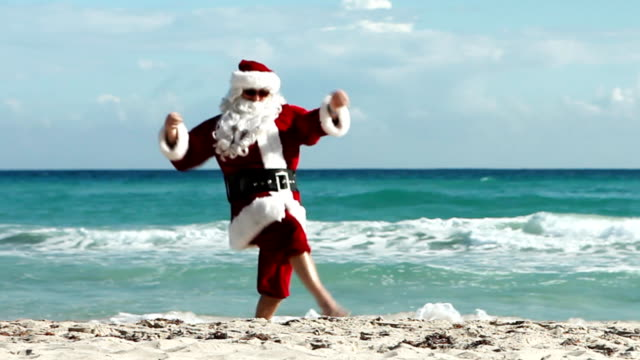 santa beach - funny merry christmas greetings stock videos and b-roll footage