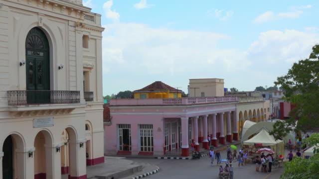 santa clara, cuba, aerial view of the colonial style buildings in the leoncio vidal park - cuban culture stock videos & royalty-free footage