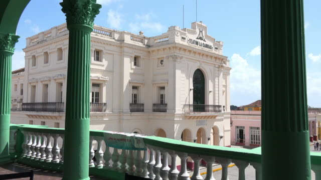 santa clara, cuba: charity theatre or 'teatro de la caridad' in the leoncio vidal park - landmark theatres stock videos & royalty-free footage