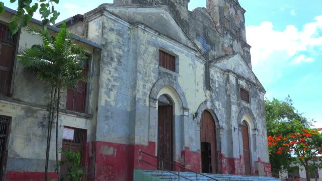 santa clara, cuba: 'la pastora' catholic church facade - weathered stock videos and b-roll footage