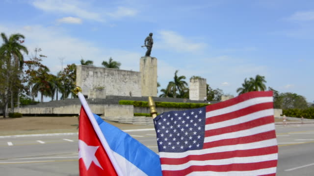 Santa Clara, Cuba memorial to Che Guevara hero of Revolution with USA and Cuba flags more understanding now with statue and grave