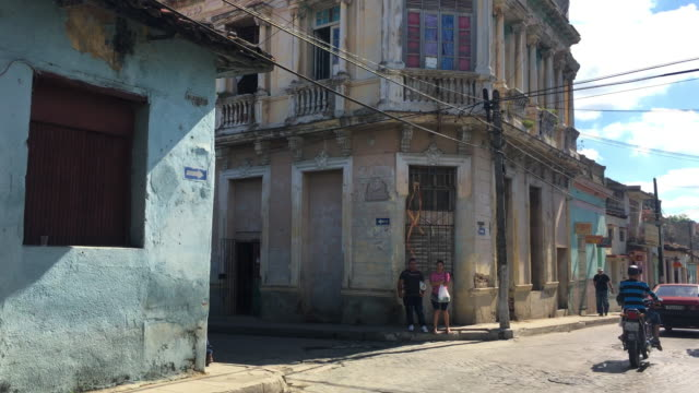 santa clara, cuba, old buildings and lifestyle in the maceo street - weathered stock videos and b-roll footage