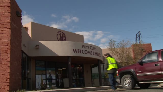 santa clara recreation center and puye cliffs welcome center on indian reservation - puebloan peoples stock videos & royalty-free footage