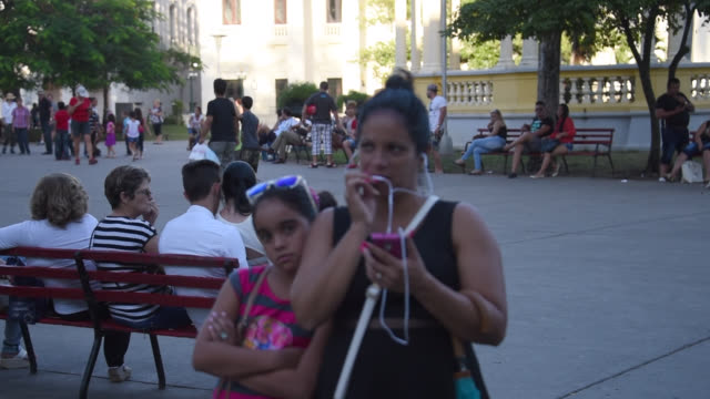 santa clara, villa clara, cuba- circa february 2016: afternoon view of the leoncio vidal park in the downtown district of the provincial capital... - focus on background stock videos & royalty-free footage
