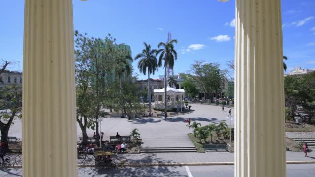 santa clara, villa clara, cuba-march 8, 2020: columns of the jose marti library frame the leoncio vidal park and its gazebo. this area is a cuban... - gazebo stock videos & royalty-free footage