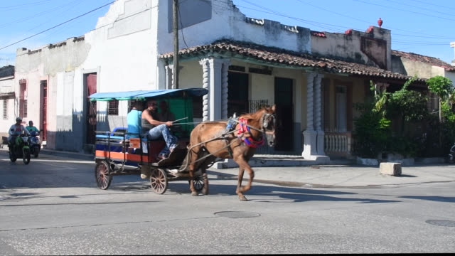vídeos y material grabado en eventos de stock de santa clara, villa clara, cuba-november 22, 2020: horse cart driving commuter passengers in the intersection of central road and colon street. these... - animales de trabajo