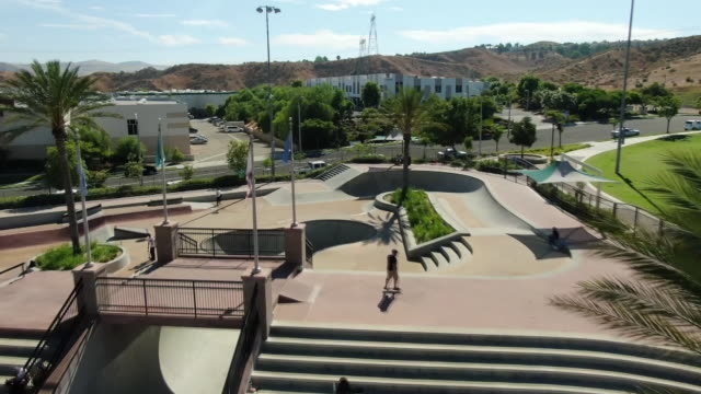 ktla santa clarita california us drone aerial of santa clarita skate park on monday july 29 2019 - santa clarita video stock e b–roll