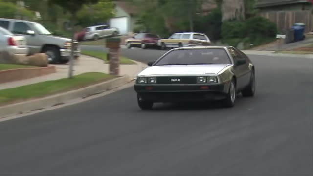 "santa clarita man who drives a delorean the famed car from the ""back to the future"" movies was given a speeding ticket recently for going the exact... - santa clarita stock videos & royalty-free footage"
