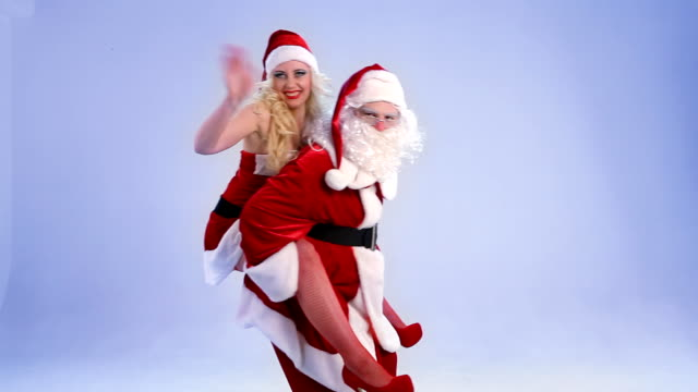 santa claus and his girlfriends have fun - former stock videos & royalty-free footage