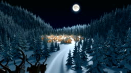 Santa Claus Arrives in a Village in the Forest