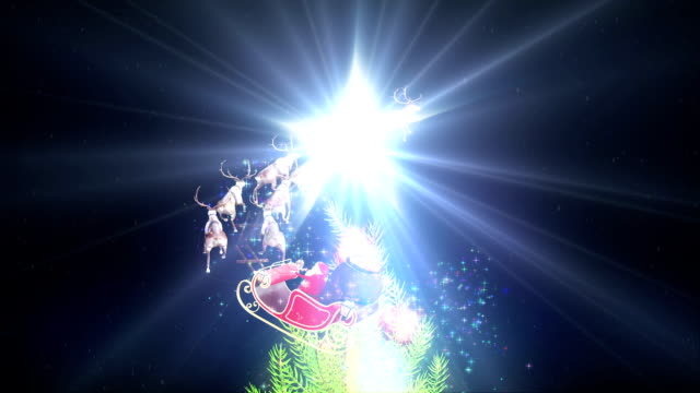 Santa Claus Christmas tree glowing