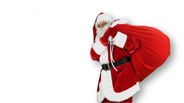 サンタクロース congratulates - 布の袋点の映像素材/bロール