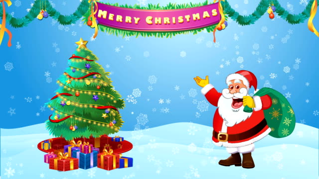 santa claus decorating christmas tree and wishing merry christmas - father christmas stock videos & royalty-free footage