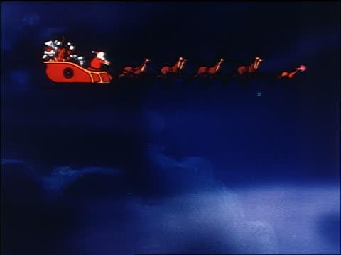 animated santa claus driving sleigh with reindeer through sky / sound - weihnachtsmann schlitten stock-videos und b-roll-filmmaterial