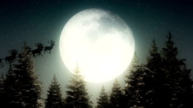 santa claus flying in front of the moon - christmas tree stock videos & royalty-free footage
