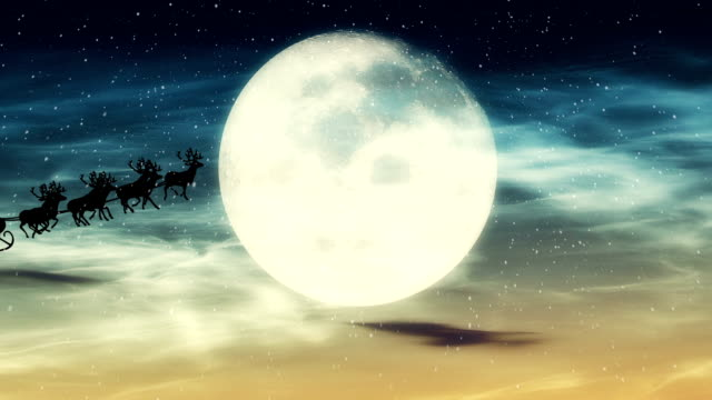 vídeos de stock e filmes b-roll de santa claus voar na frente da lua - em frente de