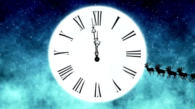 santa claus flying in front of the moon with clock - in front of stock videos & royalty-free footage