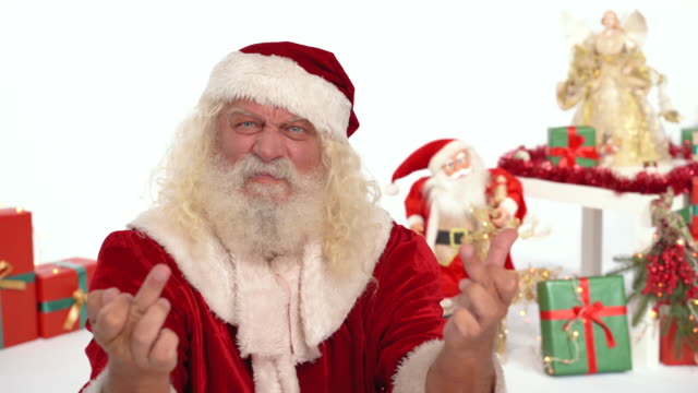 santa claus gives the middle finger - north pole stock videos & royalty-free footage