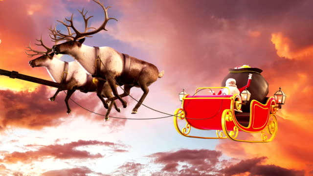 santa claus grand sunset background 4k. - sledge stock videos & royalty-free footage