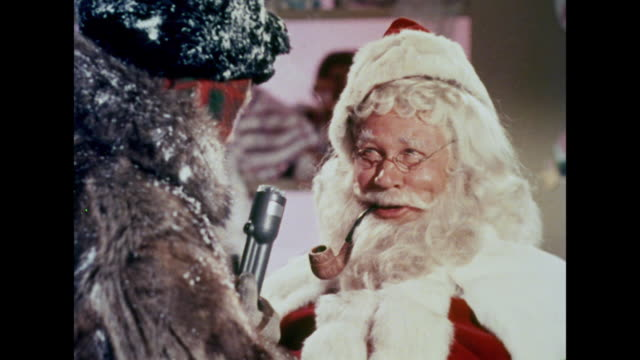 1964 Santa Claus has trouble remembering his Reindeers' names while being interviewed for the news