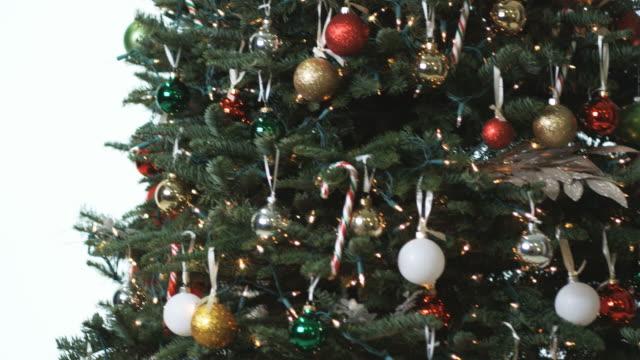 santa claus hiding behind a christmas tree - verstecken stock-videos und b-roll-filmmaterial