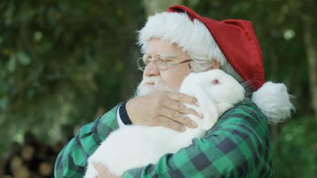Santa Claus hugging a white Rabbit