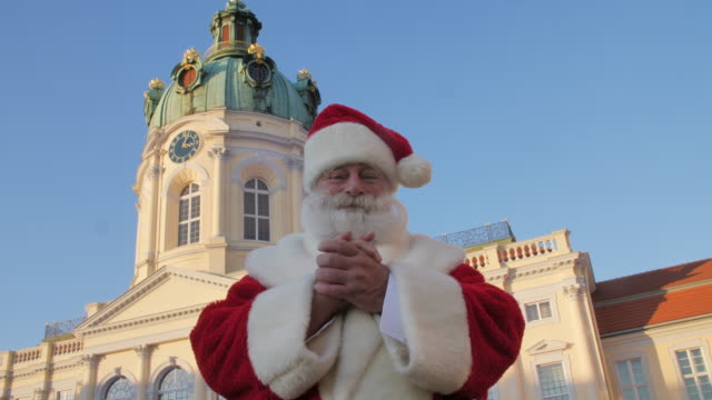 santa claus in front of charlottenburg palace - charlottenburg palace stock videos & royalty-free footage